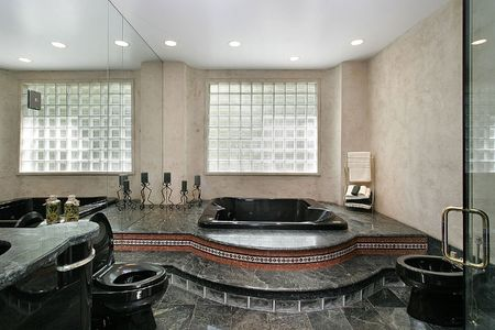Master bath with black marble and glass shower Stock Photo - 6732894