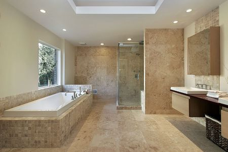 Modern master bath with marble walls and glass shower Stock Photo - 6732643