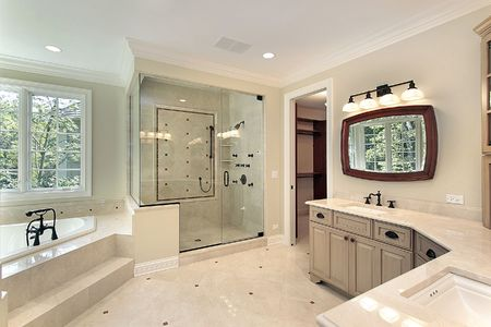Master bath in new construction home with glass shower Stock Photo - 6733264
