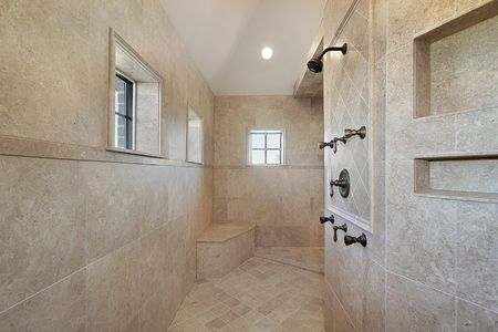 Large open air master bath shower with windows Stock Photo - 6732490