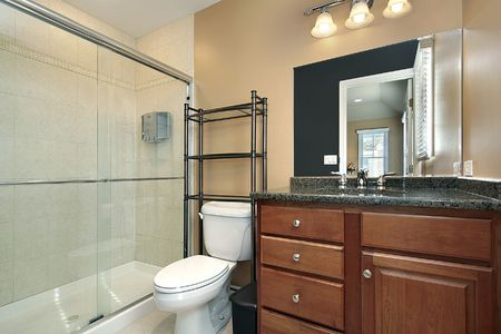 Bathroom with glass shower and wood cabinetry Stock Photo - 6733020