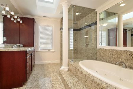 Master bath with large tub in new construction home Stock Photo - 6732507