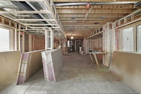 construction project: New luxury home under construction with drywall