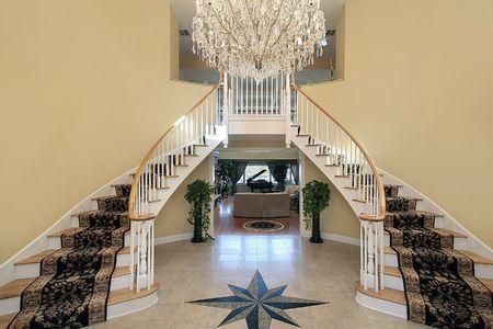 entryway: Foyer in luxury home with floor design Stock Photo