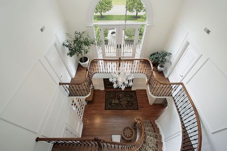 Foyer: Downward view of foyer and second floor landing area