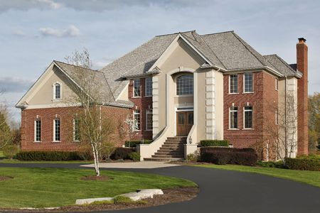 Luxury home in suburbs during early spring photo