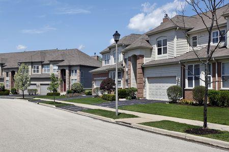Suburban neighborhood townhouse complex in suburbs with lightpole