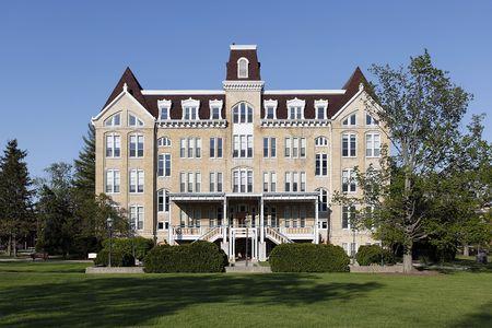 University building in spring on suburban campus
