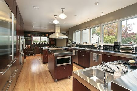Kitchen in luxury home with stainless steel counters photo