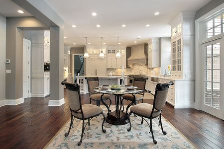 eating area: Kitchen in new construction house with eating area Stock Photo