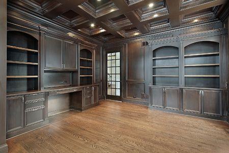 Library in new construction home with dark paneling photo