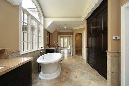 Master bath with large tub in new construction home Stock Photo - 6733006