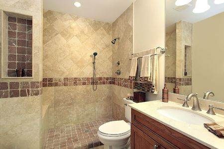 master bath: Master bath in luxury home with stone shower Stock Photo