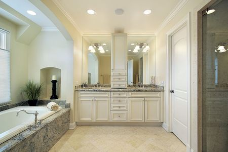 Master bath in luxury home with glass shower Stock Photo - 6733104