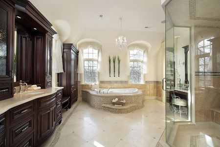 master: Large master bath in luxury home with glass shower