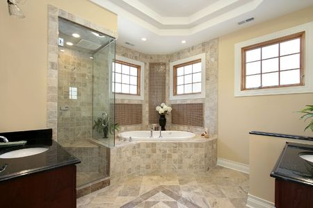 Master bath in new construction home with glass shower Stock Photo - 6732431
