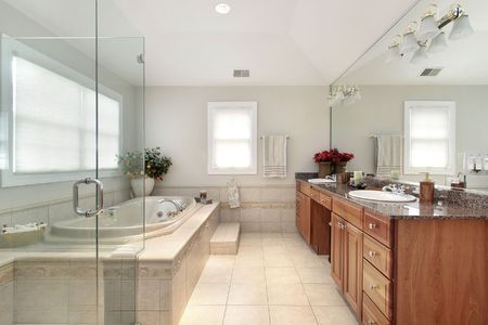 Master bath in luxury home with glass shower Stock Photo - 6732501