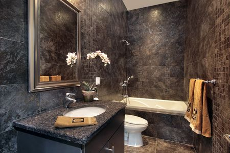 Luxury powder room with black granite walls photo