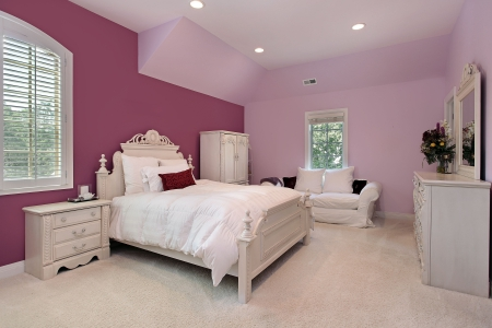 Girls pink bedroom in luxury suburban home