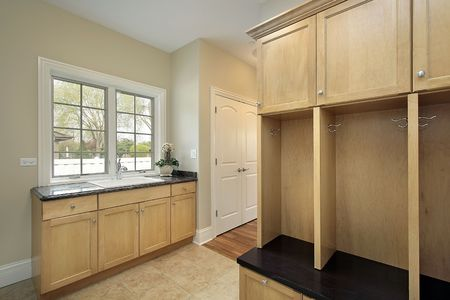 Mud room in new construction home with oak cabinetry Stock Photo - 6732452