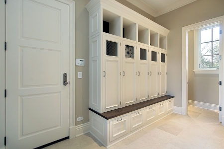 Mudroom in new construction home with lockers photo