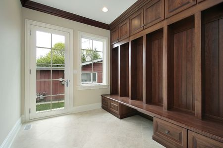 Mudroom in suburban home with side entry door Stock Photo - 6761064