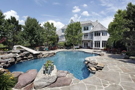 Rear view of luxury home with swimming pool photo