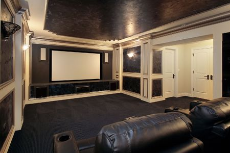 Theather room in luxury home with leather chairs Stock Photo - 6761184