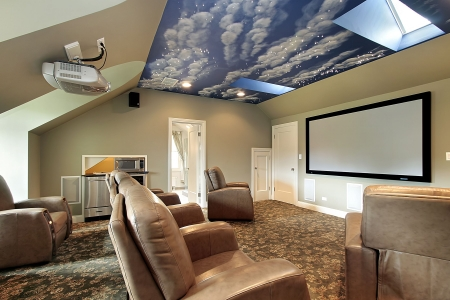 Theater in luxury home with ceiling design