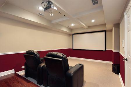 family movies: Sala de media en casa con sillas de cine en casa de lujo Foto de archivo