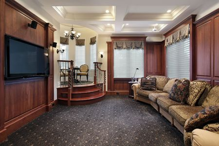theater seat: Media room in luxury home with step up cove