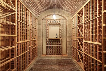 Wood wine cellar in new construction home with brick ceiling