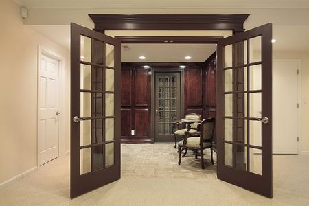 sitting area: Entrance to wine cellar with sitting area
