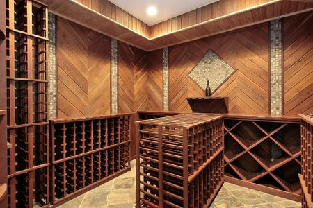 Wine cellar in luxury home with multiple racks