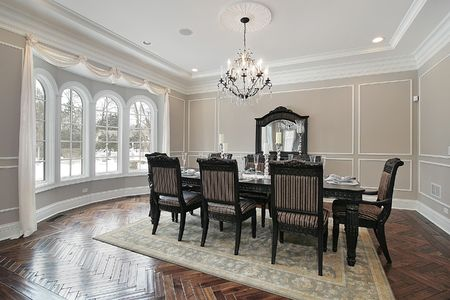 dining room: Dining room with large table in new construction home
