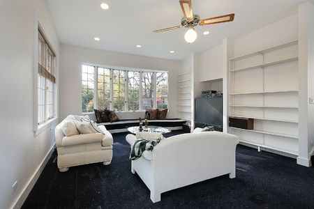 remodeled: Family room in remodeled home with white sofa