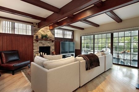 Family room with wood beams and porch view Stock Photo - 6732775