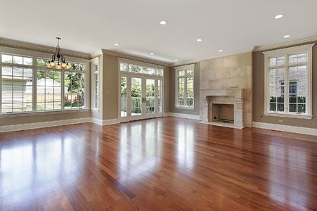 Family room in new construction home with fireplace Stock Photo - 6733484