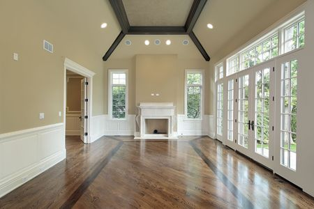Family room in new construction home with fireplace Stock Photo - 6733224