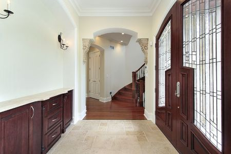 Foyer in new construction home with elaborate door Stock Photo - 6733417