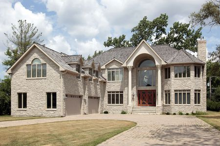 Luxury stone home in suburbs with columns Stock Photo - 6761206