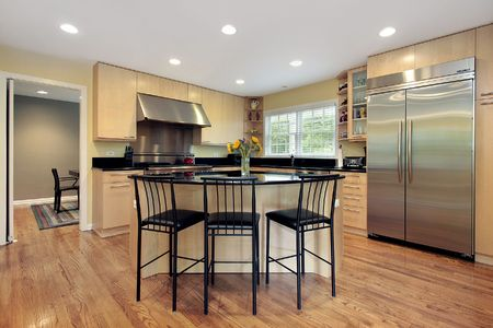 Kitchen with island and stools in luxury home photo