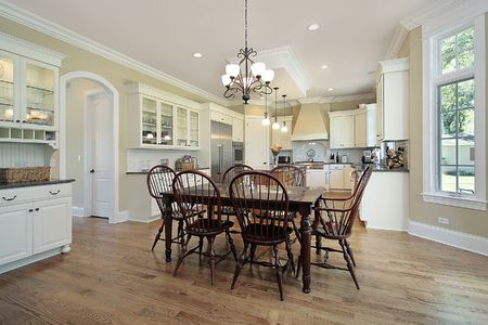 Kitchen with island and large eating area photo
