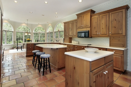 Large kitchen with two islands  in luxury home Stock Photo - 6761173