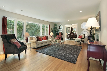 Living room in remodeled home with dining room view photo