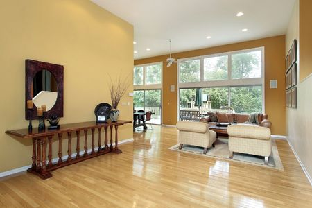 Foyer looking into living room with wall of windows Stock Photo - 6732978