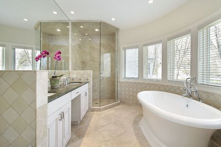 Modern master bath in luxury home with glass shower Stock Photo - 6732498