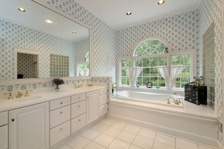 Master bath in luxury home with rounded windows Stock Photo - 6732462