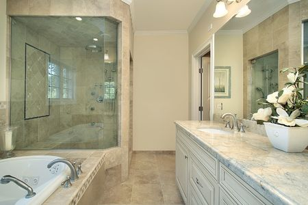 Master bath in new construction home with large glass shower Stock Photo - 6732725