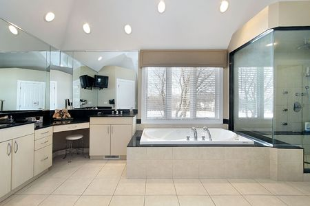 6732924: Master bath in luxury home with glass shower